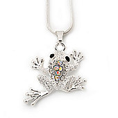 AB Crystal 'Leaping Frog' Pendant Necklace In Rhodium Plated Metal - 40cm Length & 4cm Extension