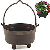 Cauldren - 23cm / 9 Inch Plastic Garden Planter / Pot - Black