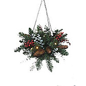Pre Lit Red Berry Christmas Hanging Basket (20 LEDs)