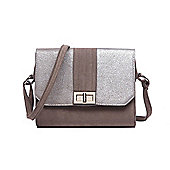 Womens Mink and Distressed Silver Faux Suede Handbag
