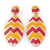 Coral, Yellow Enamel 'Leaf' Drop Earrings In Gold Plating - 60mm Length