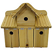 Chirp - Triple Solid Wood Wall Mounted Bird Box - Natural