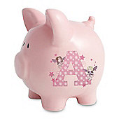 Personalised Fairy Letter Pink Piggy Money Box