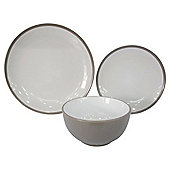 Tesco Two Tone 12 Piece, 4 Person Dinner Set, Taupe