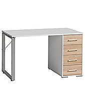 Maja- Möbel 4 Drawer Writing Desk - White / Sonoma-Oak