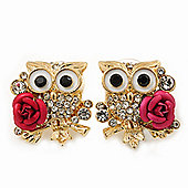 'Wise Owl With Rose' Swarovski Crystal Paved Stud Earrings In Gold Plating - 2cm Length