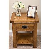 Farmhouse Rustic Solid Oak Lamp / Side Table