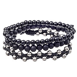 Urban Male 'Noir' Bracelet Set for Men Black Bead & Cord Design