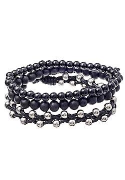 Urban Male 'Noir' Bracelet Set for Men Black Bead & Cord Design