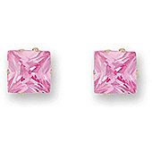 Jewelco London 9ct Yellow gold studs claw-set with Solitaire rectangular shaped pink CZ stone
