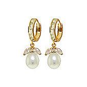 QP Jewellers Pearl & White Topaz Dewdrop Huggie Earrings in 14K Gold