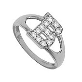Jewelco London Rose Coated Sterling Silver Cubic Zirconia Identity ID Initial Signet Ring Size