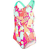 Speedo Girls Allover Splashback Print 40 Swimsuit - Pink