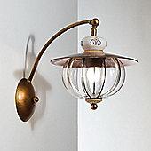 Siru Vecchia Fattoria One Light Wall Bracket - Crystal Smooth + Ceramica Celeste Gialla