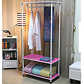 Candie - Open Wardrobe / Clothes Storage Rail - Pink / White