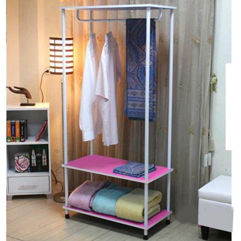 Candie - Open Wardrobe / Clothes Storage Rail - Pink / White