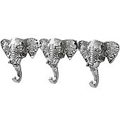 Elephant - Wall Mounted Triple 3 Coat / Towel Hook - Silver