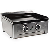 Gas BBQ Plancha - Stainless Steel 2 Burner Gas Barbecue Grill & Enameled cast iron baking plate