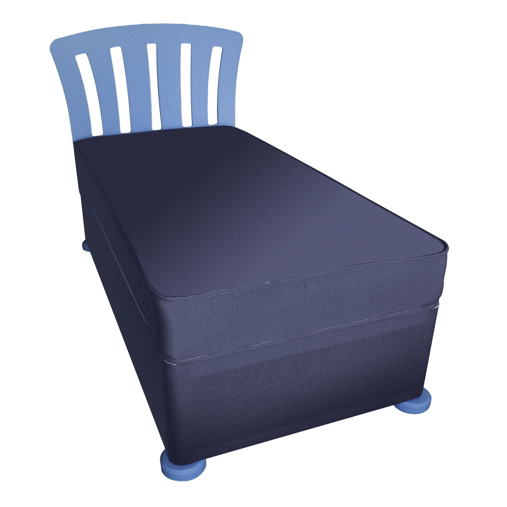 Kidsaw Single Divan with Mattress, Headboard and Bunfeet - Blue at Tesco Direct