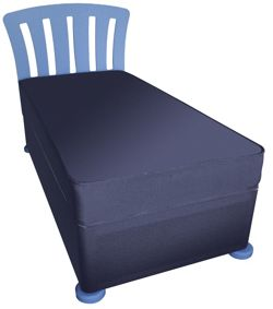 Kidsaw Single Divan with Mattress, Headboard and Bunfeet - Blue