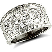 Jewelco London 9ct Solid white Gold CZ set rope edged Bombay Ring