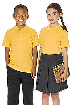 F&F School 2 Pack of Unisex Polo Shirts with As New Technology - Gold
