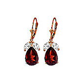 QP Jewellers White Topaz & Garnet Pear Drop Earrings in 14K Rose Gold