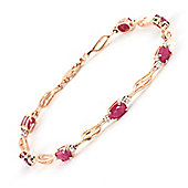 QP Jewellers 8.5in Diamond & Ruby Classic Tennis Bracelet in 14K Rose Gold