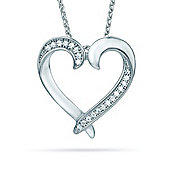 REAL Effect Rhodium Plated Sterling Silver White Cubic Zirconia Meeting in the Middle Heart Charm Pendant - 16/18 inch