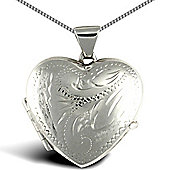 Jewelco London Rhodium Coated Sterling Silver shape floral pattern Heart Pendant - 18 inch Chain
