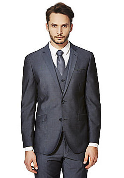 F&F Chambray Blue Tailored Fit Suit Jacket - Chambray blue