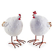 Pair of Large Big Belly Rustic Resin Chicken Ornaments