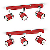 Pair of Rosie Three Way Ceiling Spotlights in Gloss Red and Chrome