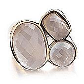 Shimla Ladies White Agate 3-Stone Ring - SH-206SM
