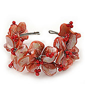 Light Coral Floral Shell & Pearl Cuff Bracelet In Silver Plating - Adjustable