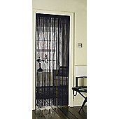Country Club Single String Door Curtain 90 x 200cm, Black