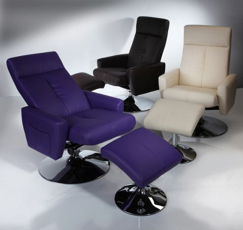 Wilkinson Furniture Bliss Swivel Recliner with Footstool - Purple