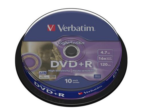 Verbatim 4.7 GB 16x DVD+R Lightscribe Disc Spindle 10 Pack