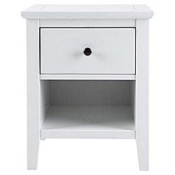 Shaker - Wood 1 Drawer Bedside / Storage Side Table - White