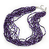 Purple Glass Bead Multistrand Necklace In Silver Plating - 42cm Length/ 6cm Extension