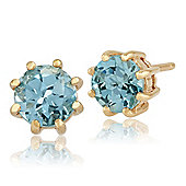 Gemondo 9ct Yellow Gold 1.00ct Blue Topaz 8 Claw Set Round Stud Earrings 5.00mm