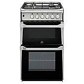 Indesit IT50G1(XX) Stainless Steel Gas Cooker, Twin Cavity, Single Oven