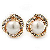 Bridal Diamante White Glass Peal Clip On Earrings In Gold Plating - 23mm Diameter