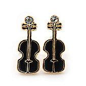 Children's/ Teen's / Kid's Small Black Enamel 'Violin' Stud Earrings In Gold Plating - 13mm Length