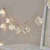 10 LED Silver Heart Battery Fairy Lights