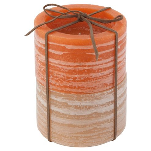 Two Tone Rustic Candle 2 Pack Large Orange