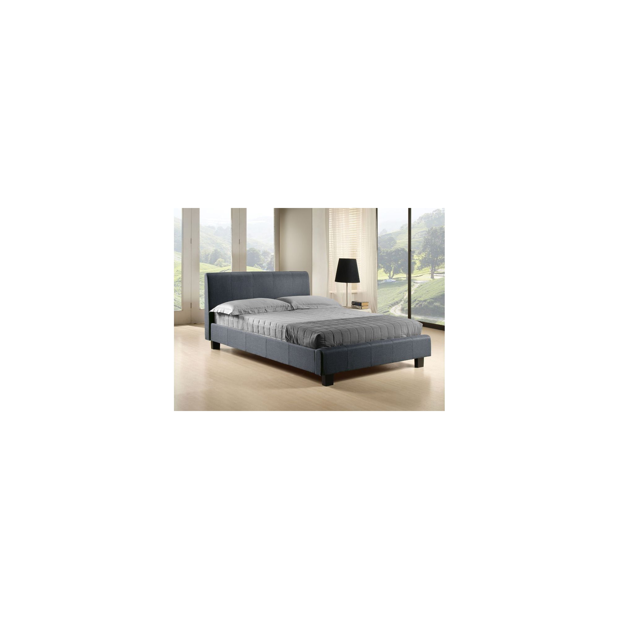 Altruna Hamburg Fabric Bed Frame - Double - Pebble Grey at Tesco Direct