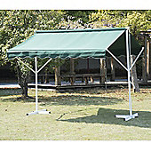 Outsunny 3 x 3m 2 Side Free Standing Manual Awning Canopy Patio Garden Outdoor Sun Shade Shelter w/ Winding Handle (Green)