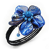 Blue Shell Bead Flower Wired Flex Bracelet - Adjustable