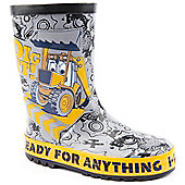 Character Boys Jcb Dig it Grey Wellington Boots - Grey